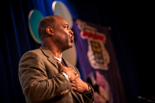 LeVar Burton speaks with passion about storytelling, literacy, and Give a Book, Get a Book.