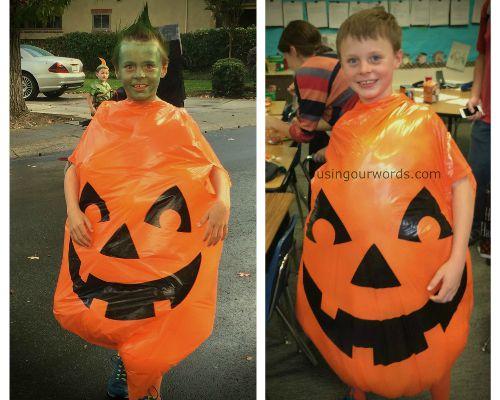 DIYPumpkinSideBySide  sc 1 st  Using Our Words & DIY Pumpkin Costume...For a Big Kid - Using Our Words